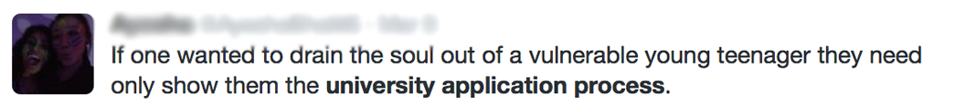 Tweets About the University Online Application Process