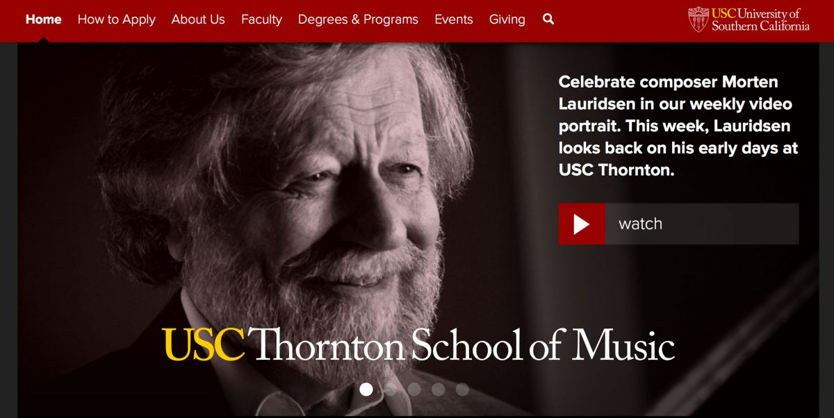 USC Thorton College of Music Online Application Experience
