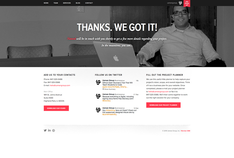 Usman Group Top Chicago Web Design Firm - Thank You Page Screenshot