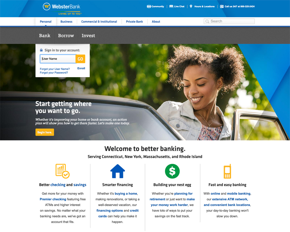 Webster Bank Financial Company & Drupal Banking Website Example