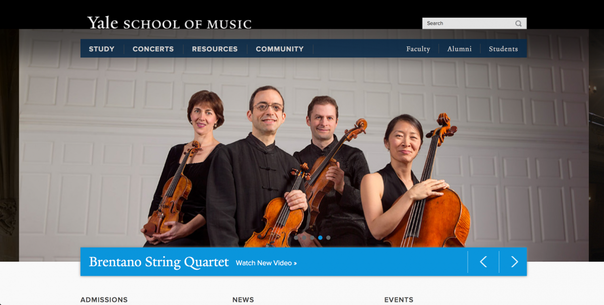 Yale College of Music Online Application Experience